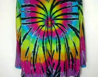 Rainbow t-shirt, Rainbow Spider, Plus size tie dye, Plus size top, Women's plus size, Women's clothing, Size UK 26-28, Tie dye T-shirt