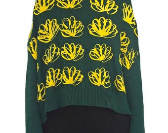 COMME DES GARCONS F/W 1996 Printed Triangular Sweater Size M Vintage 90s Green
