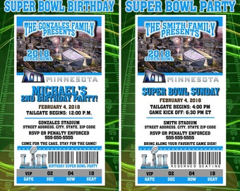 Printable Super Bowl LII 2018 Party or Birthday Party Invitations NFL Football Super Bowl Sunday Minnesota 52