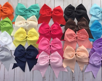 20 Cheer Bows Ponytail- 6 Inch Cheer Hair Bows- Solid Color Bows- Cheerleading Bows