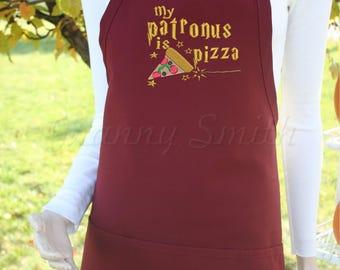"Harry Potter patronus pizza quote 24""L x 28""W professional 3 pocket full bib apron. 22 apron colors. Customized in colors requested"