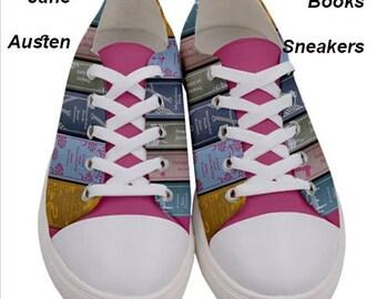 Jane Austen Books Sneakers, jane austen ,shoes, sneakers,pattern, fun , footwear, fall,books, fashion