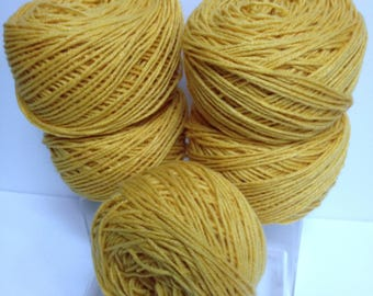 Goldenrod Yellow Worsted Yarn Cakes Bundle, Acrylic Yarn for Knitting or Crocheting or Fiber Art Designs Rewound Yarn Color for Guys & Girls