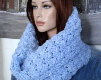 Blue Infinity Scarf, Thick Winter Cowl, Knit Scarf, Powder Blue Handmade Thick Blanket Stitch Crocheted Scarf Ready to Ship