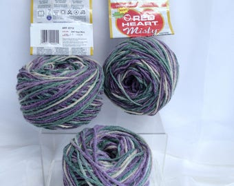 Vintage Red Heart Yarn Discontinued Variegated Misty Yarn Ultra Soft Heather Multicolor Sage Mary Yarn for Unfinished Project Rare Red Heart