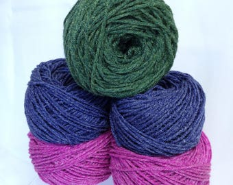 Frosted Yarn Bundle of Yarn for Flower Making Bright Magenta Pink Blue & Green Jeweltones Ice Yarn Sparkling Yarn for Crocheting Flowers
