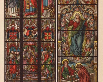 1908 stained glass windows print - Wall decor, lithograph, in lead, church architecture - 109 years old vintage antique illustration (C644)