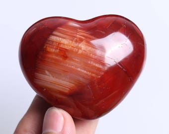 Natural Carnelian Polished Red Agate Crystal Heart Healing J533