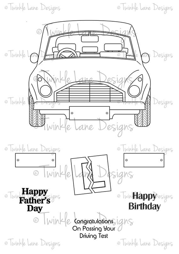 Car, Digi Stamp, Transport, Automobile, Digital Stamp, Fathers Day, Birthday, Adult Colouring, A5 Sheet, Driving, Car Clipart, L-Plate