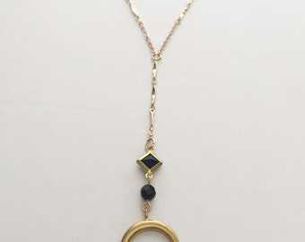 Crescent moon horn necklace