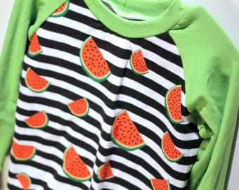 Sweater - 3-4 years - watermelon - long sleeve / raglan