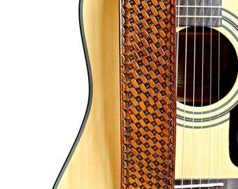 Hand Stamped Traditional Basket Weave Tan Leather Guitar Strap - Adjustable Guitar Straps - For Acoustic and Electric Guitars