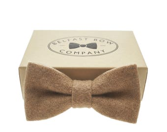 Handmade Wool Blend Bow Tie in Camel - Adult & Junior sizes available