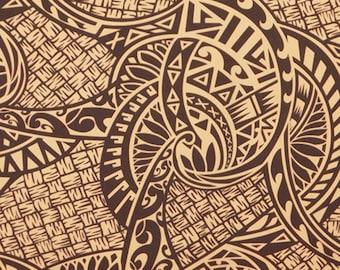Polynesian Fabric Maori Lauhala Check Lavalava Fabric, Brown, Cotton Blend HPCN9951 Ask for bulk