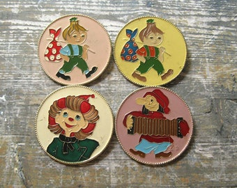 Vintage Cartoon Characters Pins, Fairy Tale Pin, Cartoon Pins, Pins for Kids