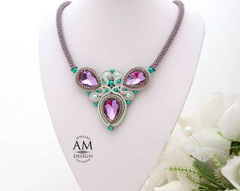 Purple Bib Necklace Embroidered Crystal Necklace Lavender Statement Soutache Necklace Mint Green Large Jewelry