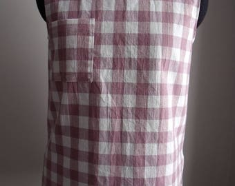 Pink Check Sleeveless Top