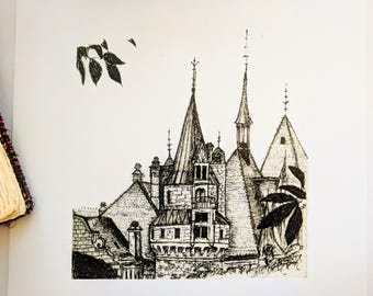 8x10'' Print, Castle, Art Prints, Original Art, Moszna Castle, Poland, Ink Art, Minimalist Art, Home Decor