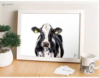 Dairy Cow, Holstein, Friesian, Cow Painting, Milking Cow Illustration, Farm Print