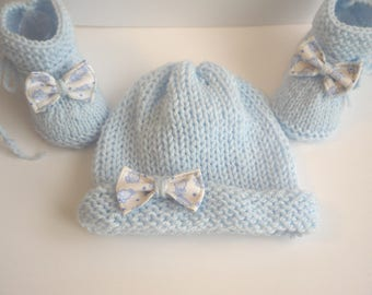 ALL baby BOOTIES BONNET 0/3 months hand knitted blue baby boy