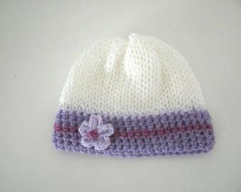 Bonnet 0/3 months baby girl white purple lilac flower