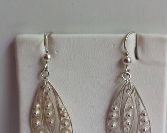Filigree Sterling Silver Earrings, Sterling Silver Earrings, Filigree Flower Earrings