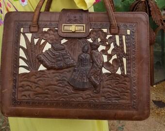 Vintage Hand Tooled Mexican Mayan Calendar Bas Relief Handbag Purse