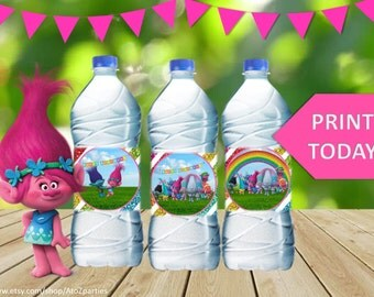 Trolls Water Bottle Wrappers, Instant Download, Glitter Trolls Party, signs, centerpiece, coordinating items avail for purchase, labels