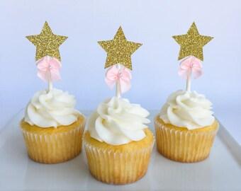 Star cupcake topper   Twinkle Twinkle   Twinkle Twinkle Little Star   Baby Shower cupcake topper   Glitter cupcake topper   Baby Shower