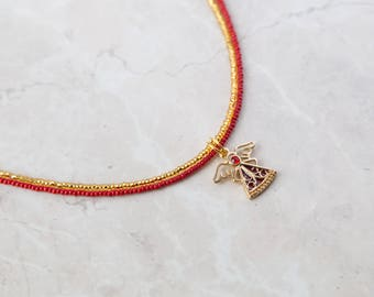 Red and Gold Angel Necklace
