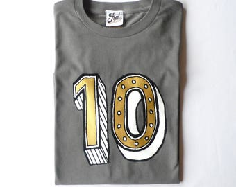 10th birthday shirt, ten Birthday outfit, age 10 year old girl/ boy Number ten T-Shirt- kids tenth tshirt- Any size! 3 colours!