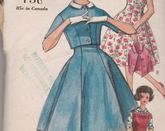 Vogue 5243 Vintage Pattern Girls Fit and Flared Dress with Bolero or Blouse Size 14