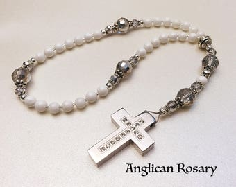 Anglican Rosary. Christian Rosary. White Onyx Rosary. Anglican Prayer Beads. White Rosary. Episcopal Rosary. Christian Gifts #AR15