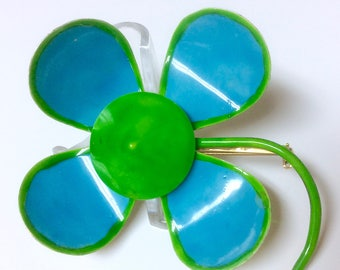 Vintage Signed Original by Robert Baby Blue and Lime Green Enamel Flower Brooch Pin
