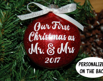 Our First Christmas Ornament, Our First Christmas as Mr. & Mrs. Glitter Christmas Ornament, Personalized Ornament Wedding, Newlywed Ornament