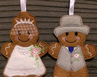 Personalised Bride and Groom (Tie) hanging Decoration