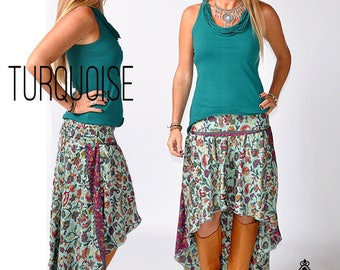 Pure Silk Bohemian High to Low skirt, Asymmetric Ethnic Top/Skirt. Boho Island Beach Party Hippie Chic Flowing Gypsy Skirt, Dancing Skirt