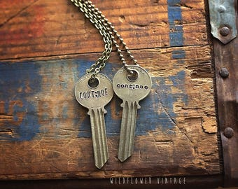 Semicolon Continue Key Necklace | Custom Hand Stamped Jewelry Mental Health Awareness Encouraging Gift