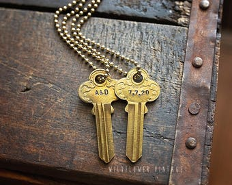 Double-sided Ornate Key Necklace | Vintage Repurposed Handstamped Gift Rare Anniversary Wedding Date Personalized