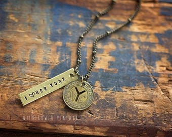 NYC vintage transit token necklace | Repurposed Rare I Love New York City