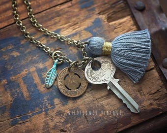 Vintage Charm Necklace | Boho Jewelry Augusta Transit Token Key Feather Tassel Birthday Gift
