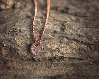 Mother's Initial Charm Necklace | Personalized Jewelry Hand Stamped Child's Floral Initial Copper Gifts for Mom