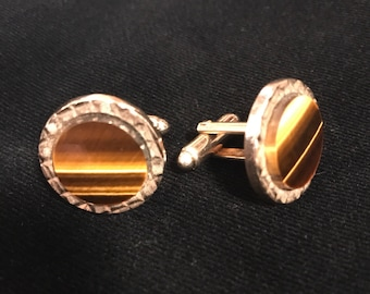 60's tigers eye cuff link set
