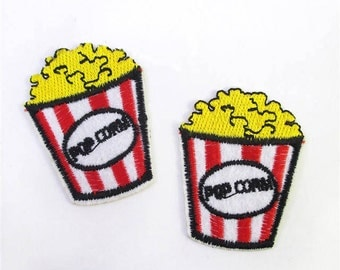 1 Piece - Popcorn Movie Embroidery Patch Iron on with glue - Approx. 2 inches for Hair bow Center