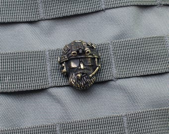 Lanyard beads clip - Paracord lanyard beads of bronze. This is molle clip «Soldier» that attaches to any EDC rep ribbons 25 mm.