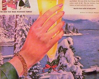 1958 Schlitz Ad Matted Vintage Print