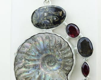 Extra Large Size Ammonite Fossil Turritella Fossil Smokey Topaz 925 S0LID Sterling Silver Pendant + 4MM Snake Chain p4279