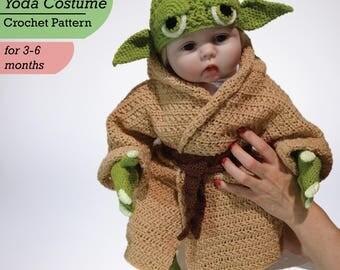 Baby Yoda Costume Crochet PDF Pattern, Star Wars Costume, Baby Crochet Pattern, Yoda Baby Costume, Infant Yoda Costume Crochet PDF Pattern