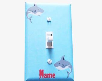 Kids bathroom - Shark decor - Light switch cover - Shark room - Shark wall decor - Boys bedroom - Kids bedroom - Boy nursery - Shark week