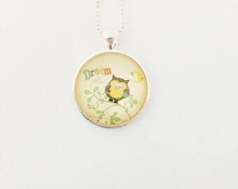 OWL necklace - Glass 25mm - bronze - Owl jewelry